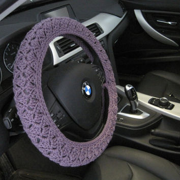 Crochet Steering Wheel Cover, Wheel Cozy - dark mauve (CSWC 2MMM)