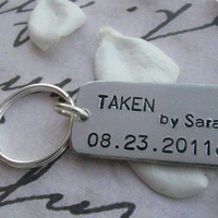 TAKEN Keychain, TAKEN, Boyfriend girlfriend jewelry, Personalized, Anniversary, Anniversary gifts for men, engagement gift, Love Jewelry