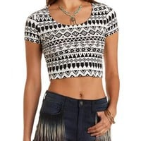Lace-Back Aztec Print Crop Top by Charlotte Russe
