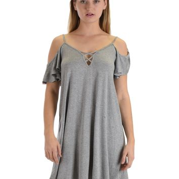 SL4172 Grey Half Sleeve Off Shoulder Shift Dress With Crisscross Spaghetti Detail
