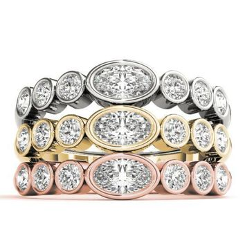 Stackables 1/2 Eternity Tri-Tone Gold Round & Oval Full Bezel 3-Band Set