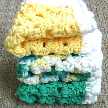 Cotton Crocheted Dishcloths - Summer Color Washcloth - Set of 3 - Yellow, Green, Multicolor