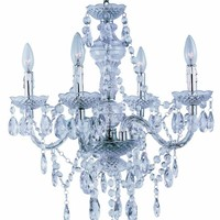 Park Madison Lighting PMC-6604-CL 4-Light Clear Acrylic Chandelier/Ceiling Fixture with Acrylic Prisms and Chrome Accents, 21-3/4-Inch x 23-Inch