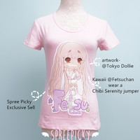 """Chibi Fetsu Chan"" Kawaii Custom Design Tailor Made Cotton T-shirt Top SP140844"
