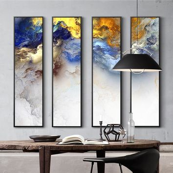 Modern Chinese painting 4 Piece Canvas Painting Abstract Landscape Painting Prints For Modern Living Room Bedroom Decor Wall Art