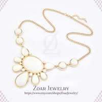 Ivory Bubble Bib Statement Fashion Party Necklace