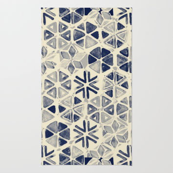 Hand Painted Triangle & Honeycomb Ink Pattern - indigo & cream Rug by Micklyn