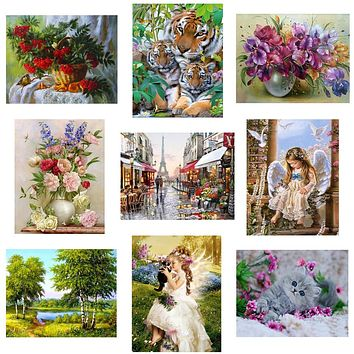 22 pattern 3d diy Diamond painting Cross Stitch kit Diamond Embroidery home decor flower animal landscape  mosaic picture  30X40