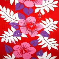 Three Pink Hibiscus Red Sarong with Fringe