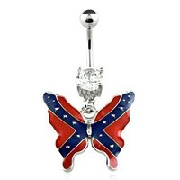 Body mindTM Belly Button Ring Navel CZ Butterfly Rebel Flag Body Jewelry 14 Gauge BY 7Z ACC