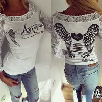 Angel Wings Printed T-shirt Fashion 2016 NEW Women Tee Shirt Back Hollow Ripped Backless Tops Summer  Lace Long Sleeve Blusas