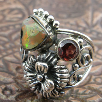 Ethiopian Opal (Rough) & Garnet Sterling Silver Flower Ring - Size 8.5