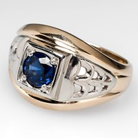 Mens Blue Sapphire Ring 1 Carat Solitaire 14K Two-Tone Gold