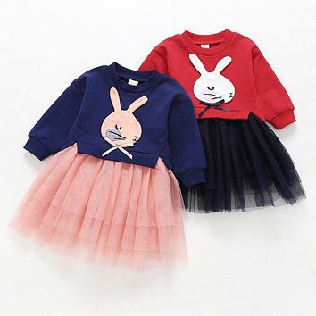 New Spring Dresses For Girls Fashion Newborn Baby Girl Long Sleeve Knitted Rabbit Dress Lace Princess Dress For Girls