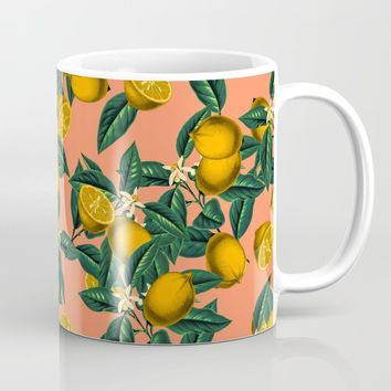 Lemon and Leaf Coffee Mug by burcukorkmazyurek