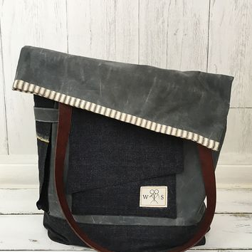 The Porter Waxed Canvas Tote Bag -  Waxed Canvas, Denim & Leather Tote Bag