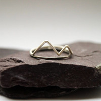 Misty Mountains - stacking rings, hammered, silver bands, oxidised, mountains