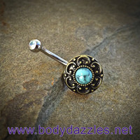 Turquoise Vintage Belly Button Ring Surgical Stainless Steel 14ga Navel Ring
