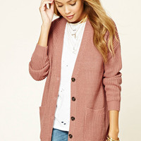 Button-Front Ribbed Cardigan