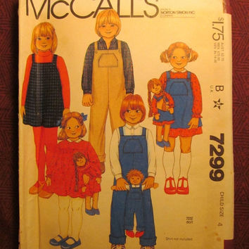 SALE Uncut 1980's McCall's Sewing Pattern, 7299! Size 4 Toddlers/Kids/Child/Girls/Boys/Overalls/Coveralls/Jumper Dresses/Collared Dress