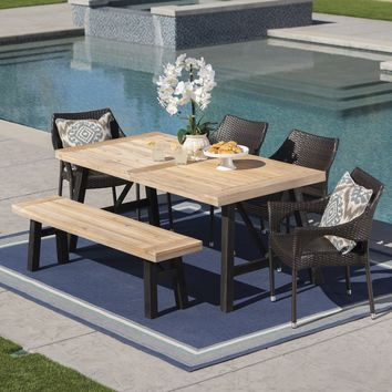 Secos Outdoor 6 Piece Acacia Wood Dining Set with Wicker Stacking Chairs