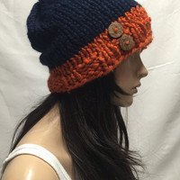 Knit Slouchy Hat Beanie Chicago Bears Colors Navy And Orange With Wood Buttons Warm And Cozy