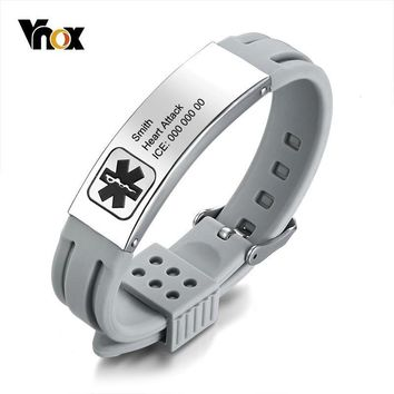 Vnox Free Engraving Medical Alert ID Bracelets for Women Men Personalized Stainless Steel Bar Adjustable Length Emergency Jewels