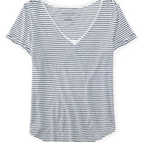 Striped Boxy V-Neck Tee - Aeropostale