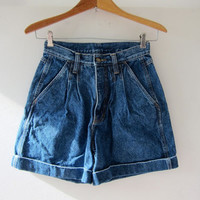 vintage denim shorts / 80s pleated jean shorts / high waist denim shorts