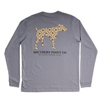 Shotgun and Pheasants Dog Long Sleeve Tee in Grey by Southern Point