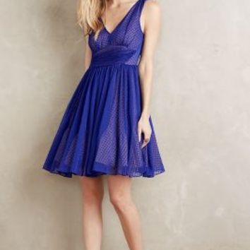 HD in Paris Flared Clipdot Dress in Blue Size: