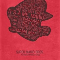 Super Mario Typography Canvas Print by Kody Christian