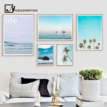 Ocean Waves Coconut Tree Landscape Canvas Poster Motivational Life Quote Wall Art Print Noridc Decoration Painting Picture