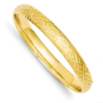 8.5mm 14k Yellow Gold Diamond Cut Fancy Hinged Bangle Bracelet