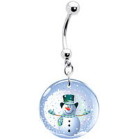 Holiday Snow Globe Snowman Belly Ring | Body Candy Body Jewelry
