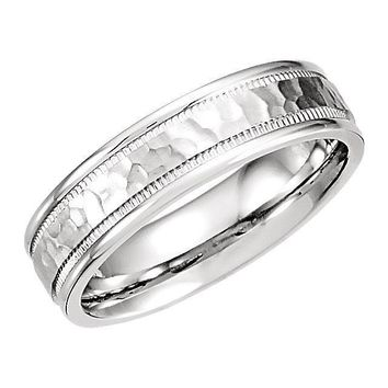 Matthew Fancy Carved Band with Micro-Hammer Finish Band