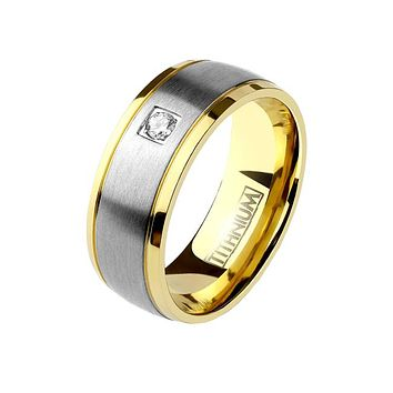 Center Gold - Men's Square CZ Titanium Two Tone Gold Edge Ring