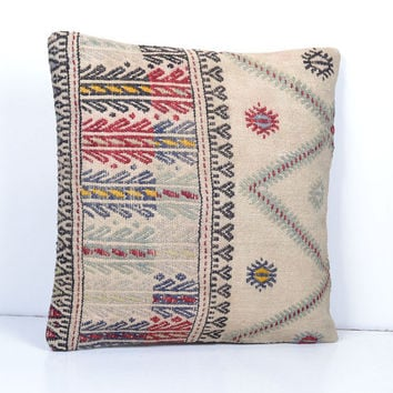 Kilim Pillow Cover Ethnic Pillow Decorative Throw Pillow 40x40 Wool Boho Hand Woven Pillow 16x16 Cozy Turkish Cushion Bohemian Home Decor