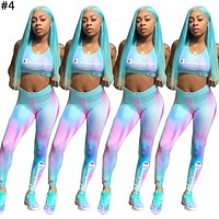 Champion tide brand female gradient letter printing sports suit two-piece #4