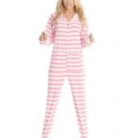 Soft Pink Striped Adult Footed Onesuit Pajamas