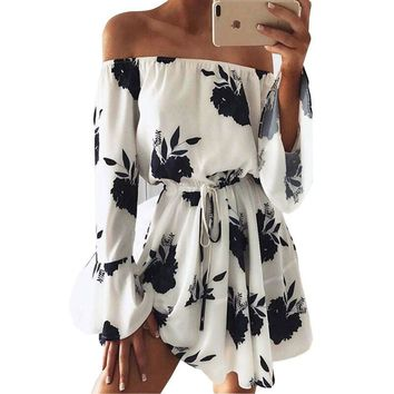 Beach Floral Boho Dress Sexy Off the Shoulder Flare Sleeve Empire Mini Dress