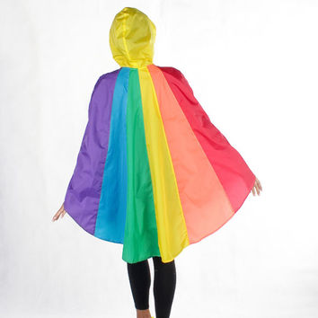 Rainbow waterproof rain poncho, Cape with hood, Nylon rain jacket, with Free rainbow bag.