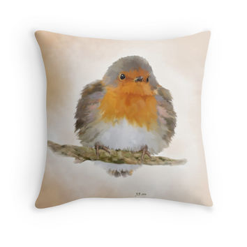 'Young Robin' Throw Pillow by Bamalam Art and Photography