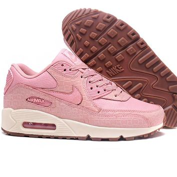 NIKE AIR MAX 90 Trending Snake Skin Texture Pink(White soles)Women Sneakers B-A-QDSK-Buy Micro