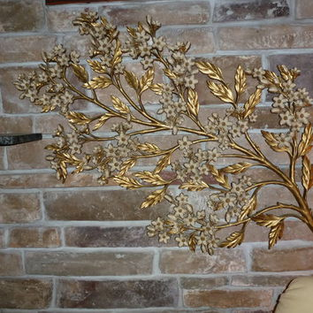 Syrocco Wood 60's floral wall plaque