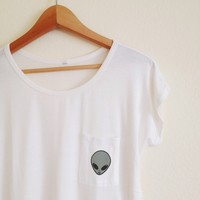 Bethany Alien White Pocket Tee