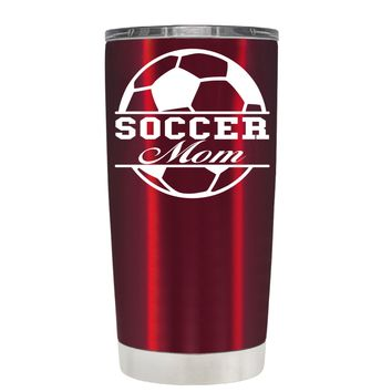 TREK Soccer Ball Mom on Translucent Red 20 oz Tumbler Cup
