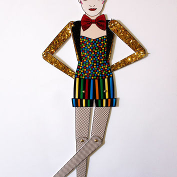 Columbia The Rocky horror picture show tribute fan art paper doll assembled articulated Little Nell
