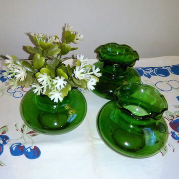 Vintage Anchor Hocking Vases, Vintage Ruffled Vases, Vintage Green Vases, Small Ruffled Vases, Green Ball Vase,  Anchor Hocking Bud Vase