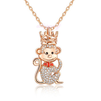 2016 Chinese calendar Monkey Year king crown pendant Necklace zircon jewelry best elegant gift for women girl CN133